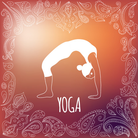 Yoga with heart frame and girl practicing Wheel Pose (Urdhva Dhanurasana)