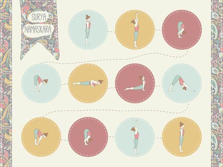 Yoga, Surya Namaskara A. Sun salutation.