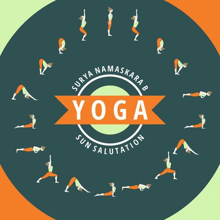 fitness instructor: Yoga, Surya Namaskara B. Sun salutation illustration