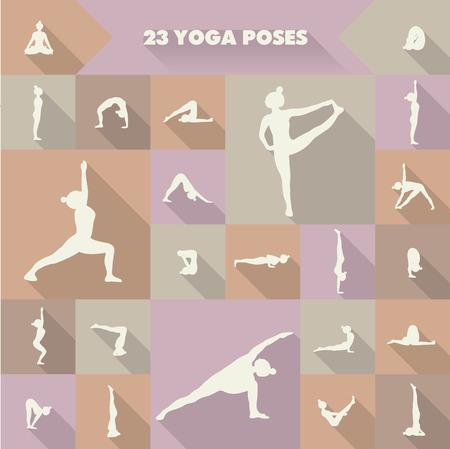Yoga Set of twenty three asanas (yoga poses) illustration