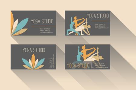 fitness instructor: Set of business card for yoga studio or yoga instructor Illustration