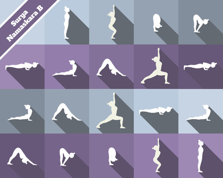 Yoga. Surya namaskara B. Sun salutation complex. White silhouettes and blue and purple  background.