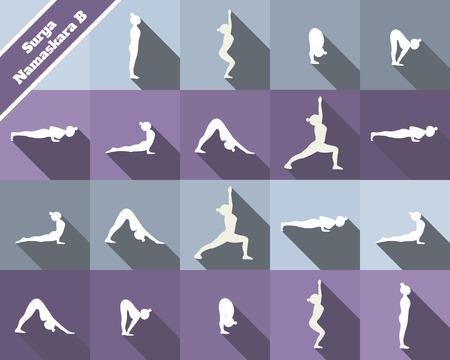salutation: Yoga. Surya namaskara B. Sun salutation complex. White silhouettes and blue and purple  background.