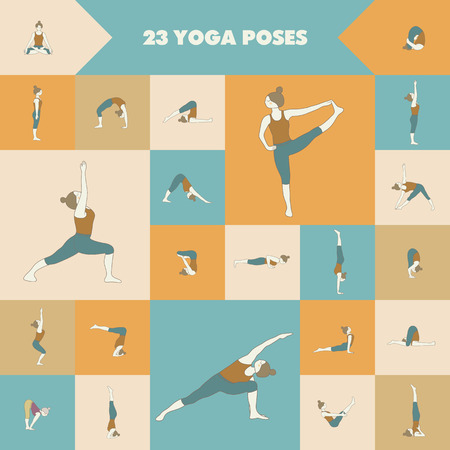 asanas: Yoga. Set of twenty three asanas (yoga poses).