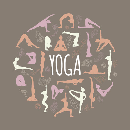 yoga class: Yoga. Set of asanas (yoga poses). Illustration
