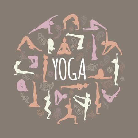 asanas: Yoga. Set of asanas (yoga poses). Illustration