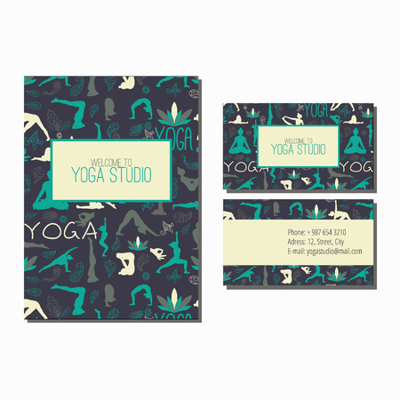 Business card and flyer for yoga studio. Pattern with yoga poses.