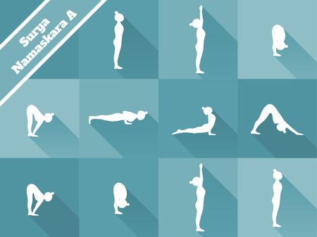 salutation: Yoga. Surya Namaskara A. Sun salutation. Blue background, white silhouettes.