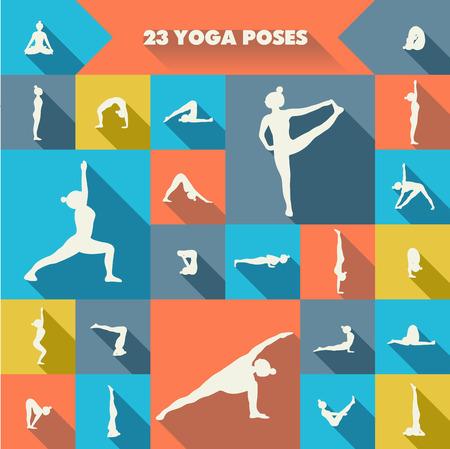 Set of twenty three yoga poses silhouettes. Girl practicing asanas. Colorful background. 版權商用圖片 - 36176284