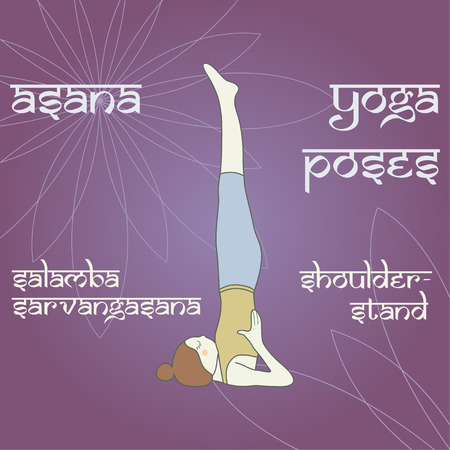 Salamba Sarvangasana. Shoulderstand. Asana. Yoga poses. 版權商用圖片 - 36176285