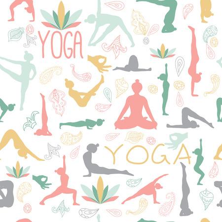 Patrón de Yoga. Las posturas de yoga, loto, sello, ornamento de Paisley. Fondo blanco. Ilustración de vector
