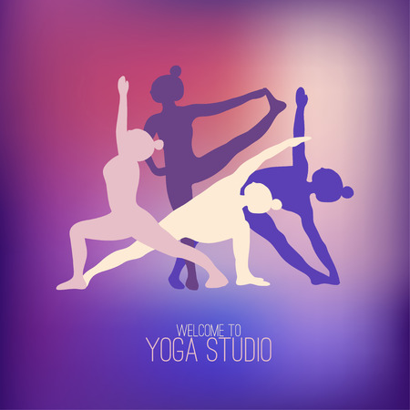 sports training: Four silhouettes of girls practicing yoga poses. Logo for yoga studio. Purple gradient background.