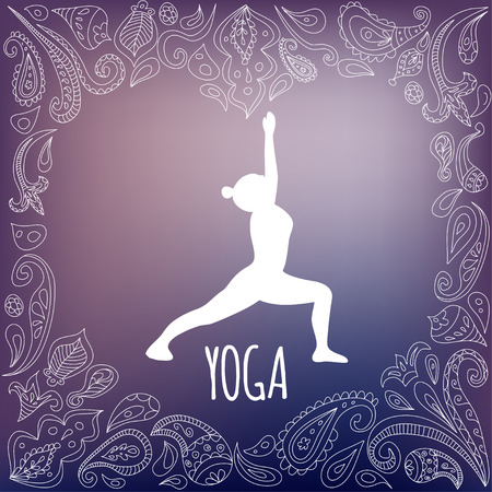 Yoga logo with heart frame and girl practicing  Warrior I Pose (Virabhadrasana I). White silhouette and beautiful purple gradient background. Paisley ornament. Illustration
