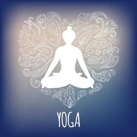 Yoga logo with girl practicing Padmasana (Lotus pose) and paisley ornament forming a heart.