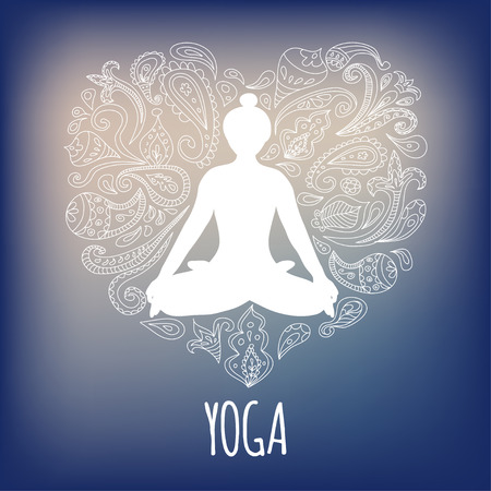 Yoga logo with girl practicing Padmasana (Lotus pose) and paisley ornament forming a heart.