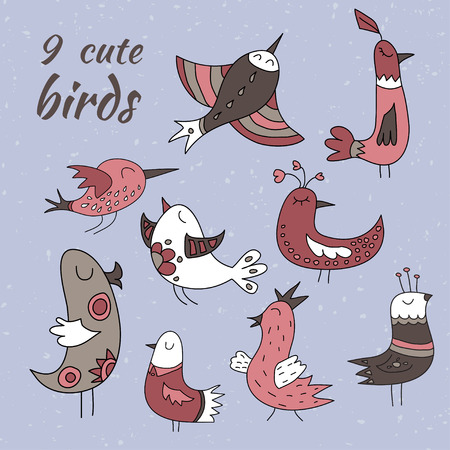 Set of nine cute winter birds. Brown, red, blue and white coloured. Illustration