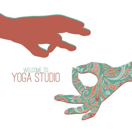 yoga studio. Two hands making yoga gestures - mudras (seals) - Surya Mudra and Gyan Mudra.