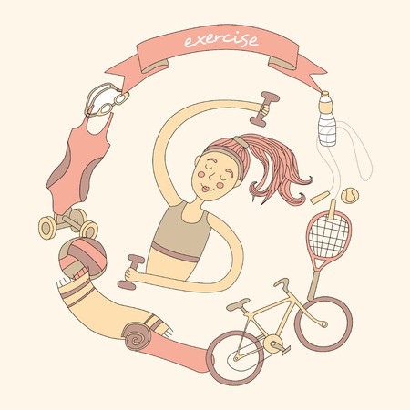 Cute girl and set of sport elements. Healthy lifestyle. Pastelle colored. Illustration