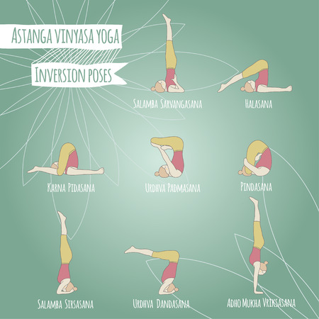 Inversion poses. Asana. Yoga poses.
