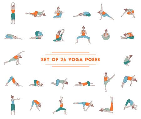 Set of twenty six yoga poses. Collection of asanas. Ilustração