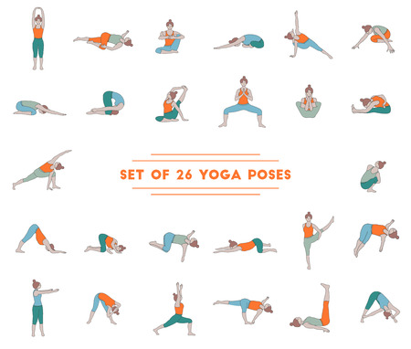 Set of twenty six yoga poses. Collection of asanas. Illustration