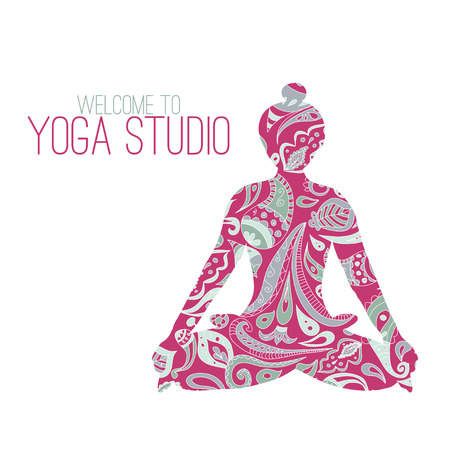 fitness instructor: icon for yoga studio. Lotus pose and paysley ornament. Pink color.