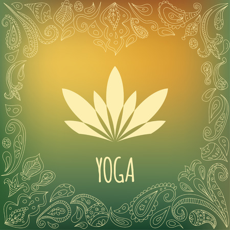Yoga icon with heart frame and lotus flower silhouette. Green gradient background and paisley ornament.