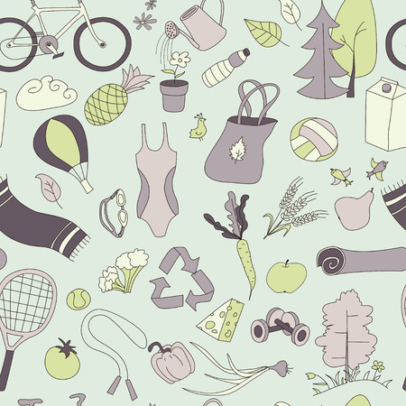 Healthy lifestyle. Seamless pattern. Pastel color. Illustration