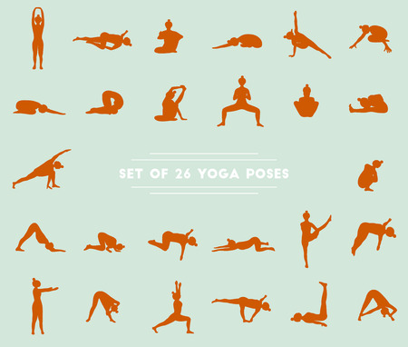 asanas: Set of twenty six yoga poses. Collection of asanas. Blue background and red girl silhouettes.