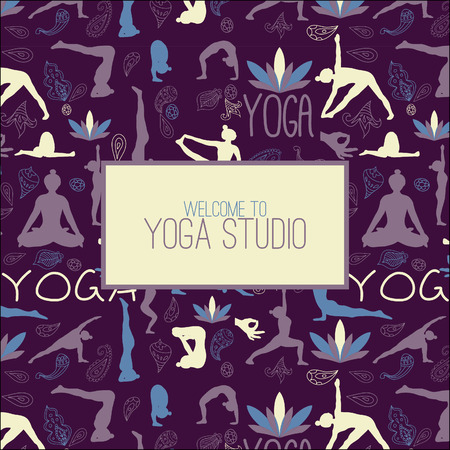 Pattern with label for yoga studio. Illustration