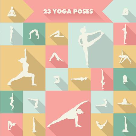 asanas: Set of twenty three yoga poses silhouettes. Girl practicing asanas. Illustration