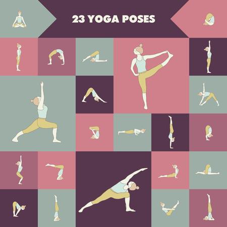 asanas: Set of twenty three yoga poses. Girl practicing asanas.