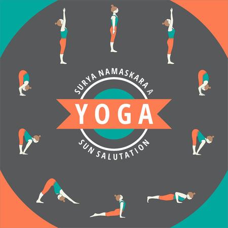 yoga meditation: Yoga. Surya Namaskara A. Sun salutation.