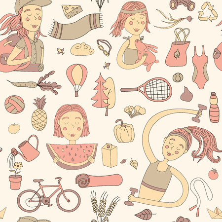 Healthy lifestyle. Seamless pattern with girls and objects. Pastel color.