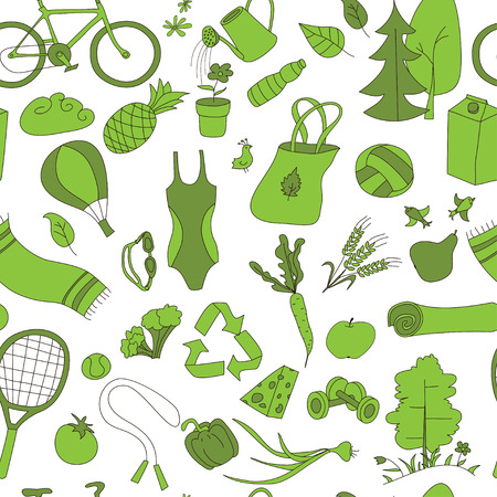 Healthy lifestyle. Seamless pattern. Green color.