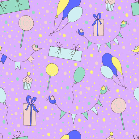 Cute birthday pattern. Pastel coloured. Vector