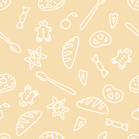 Bakery seamless  pattern.Yellow coloured. Set of delicious objects.