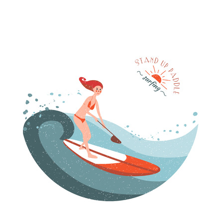 paddle: Stand Up Paddle Surfing. Young girl rides on the board. Illustration