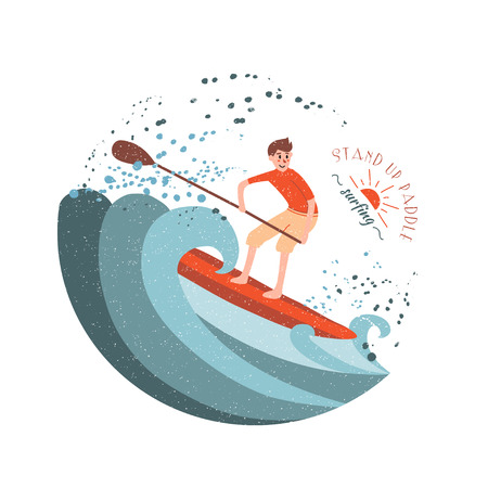 paddle: Stand Up Paddle Surfing. Young boy rides on the wave.