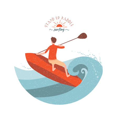 paddle: Stand Up Paddle Surfing. Young boy rides on big wave. Illustration