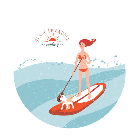paddle: Stand Up Paddle Surfing. Young girl with dog on the board. Illustration