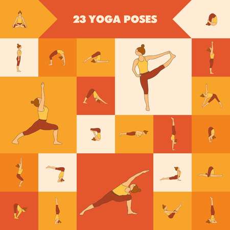asanas: Set of twenty three yoga poses. Collection of asanas. Warm colors.