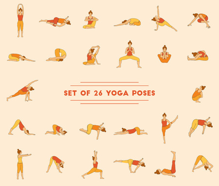 woman pose: Set of twenty six yoga poses. Collection of asanas. Warm colors.