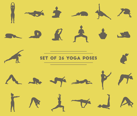 twenty six: Set of twenty six yoga poses. Collection of asanas. Dark silhouettes.