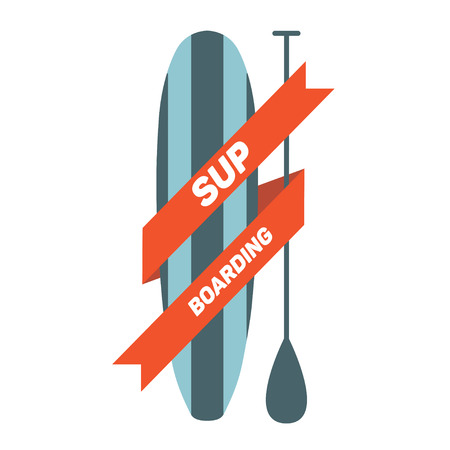 Stand Up Paddle Surfing logo. Vector