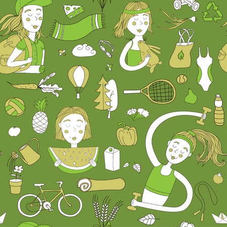 Healthy lifestyle. Seamless pattern with girls and objects. Green color.