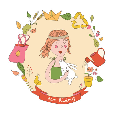 enviroment: Cute girl and set of eco elements. Healthy lifestyle.