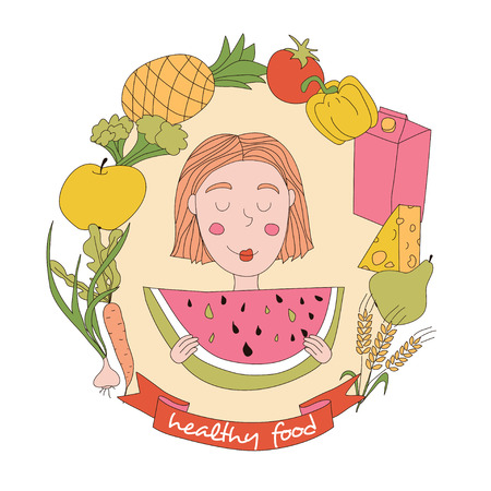 watermelon woman: Cute girl and set of fresh food. Healthy lifestyle.