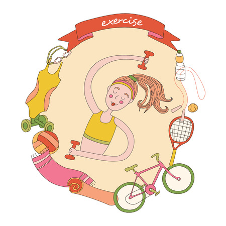 walk: Cute girl and set of sport elements. Healthy lifestyle.
