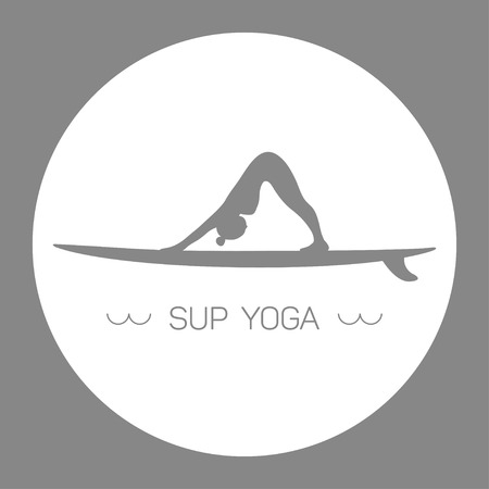 surf girl: Logo for Stand up Paddle Yoga. Downward-facing dog. Grey and white circle. Illustration